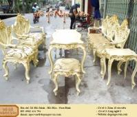 Bộ bàn ghế louis giát vàng Ý
